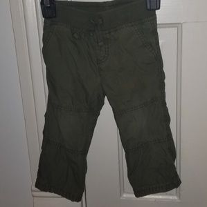Warm cotton lined casual moss green pants